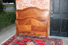 Antique French Solid Walnut Wood Louis XV Full Size Double Bed with Rails - $1,145.40