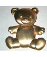 Teddy Bear Pin vintage Signed JJ gold-tone head moves - $11.00