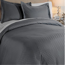 Concierge Collection Dobby Check Duvet Set, Gray, Full.Queen - $29.69