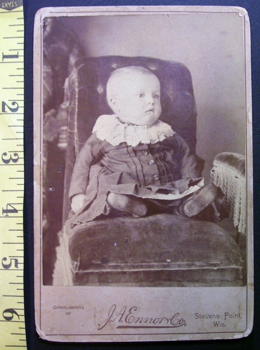 Cabinet Card Photo Cute Fat Faced Baby Dress! c.1866-80!