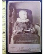 Cabinet Card Photo Cute Fat Faced Baby Dress! c.1866-80! - $5.00