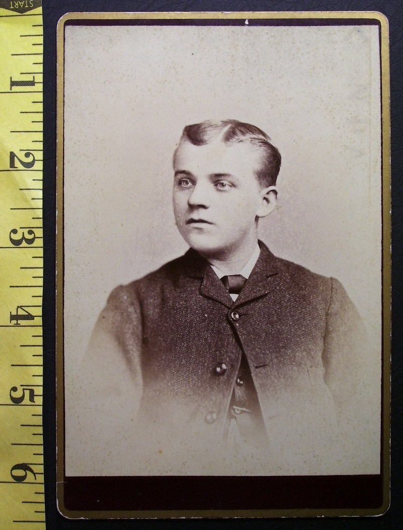 CABINET CARD PHOTO OF HANDSOME YOUNG MAN N.Y. WOOD PHOTO LOGO! c.1866-80!
