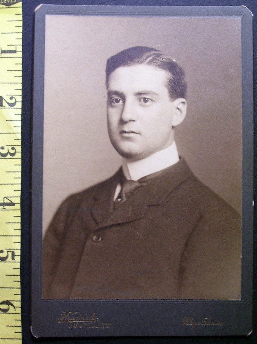 Primary image for CABINET CARD PHOTO VERY HANDSOME YOUNG MAN N.Y. STUDIO WOW! c.1880-90!
