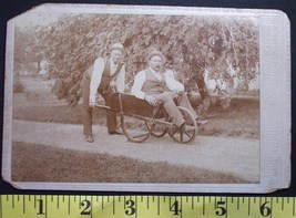 Cabinet Card Photo Two Old Timers Hats & Wheelbarrow! c.1880 - $4.00