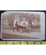Cabinet Card Photo Two Old Timers Hats & Wheelbarrow! c.1880 - $5.00