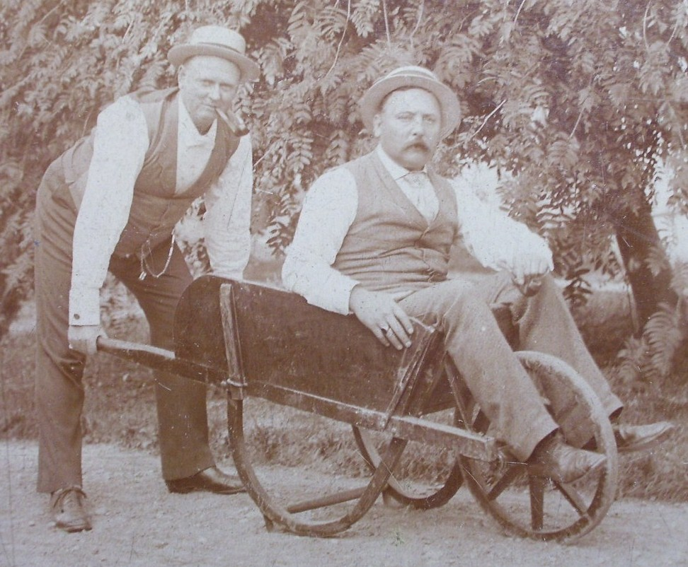Cabinet Card Photo Two Old Timers Hats & Wheelbarrow! c.1880