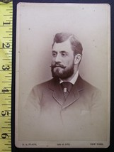 Cabinet Card Photo Handsome Full Bearded Man New York Nice! C.1866 80! - $4.99
