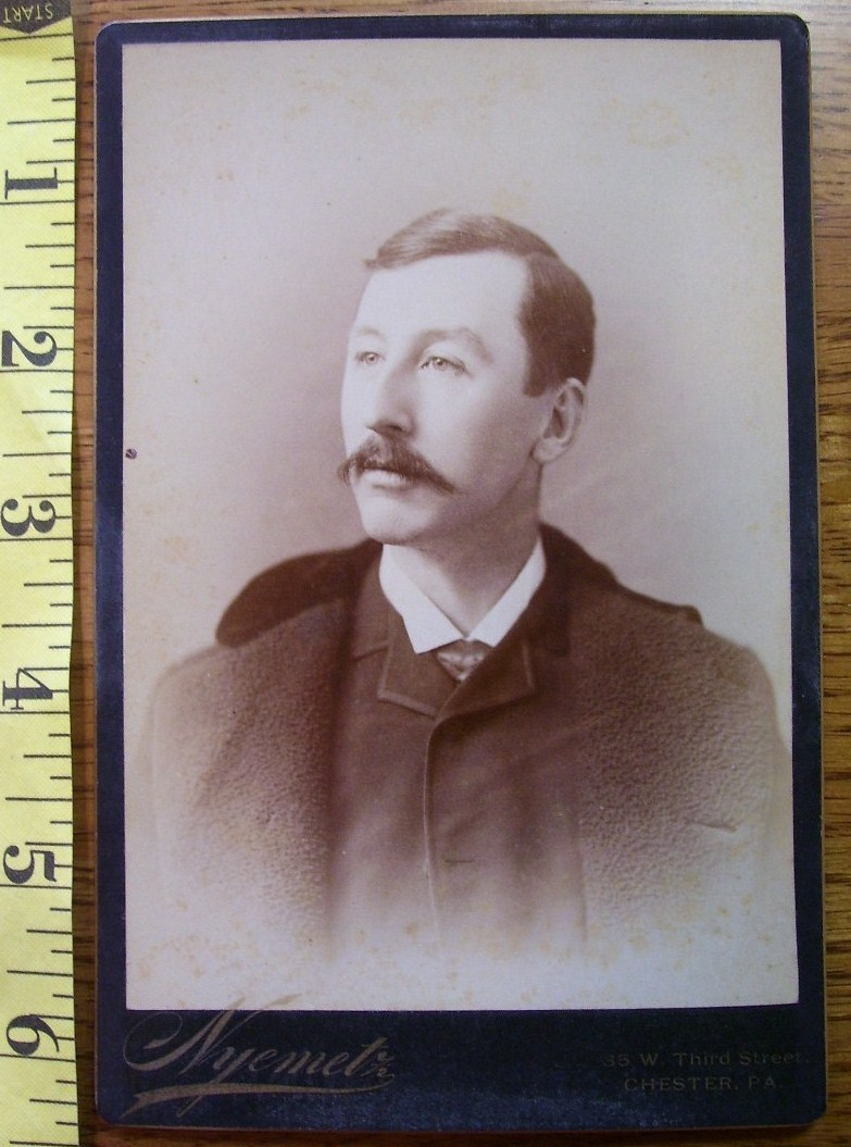 CABINET CARD PHOTO HANDSOME MAN NICE COAT DATED 1890 CHESTER, PA!