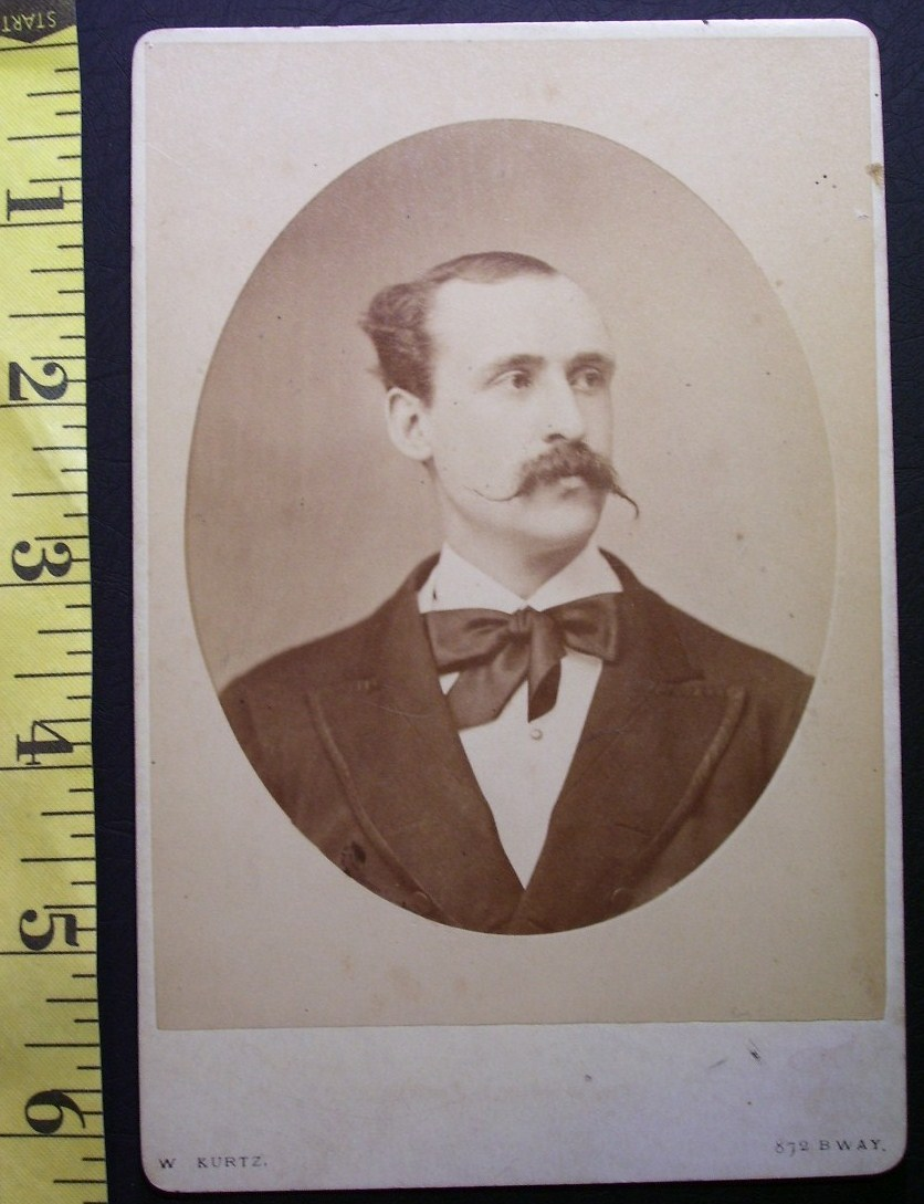 Cabinet Card Photo Man w/Long Waxed Moustache!. c.1866-80
