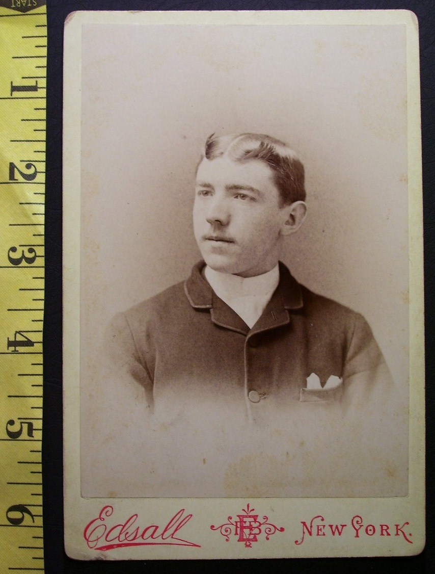 Primary image for Cabinet Card Photo Young Man Photo Studio Logo! c.1866-80!
