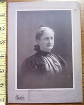 CABINET CARD PHOTO OLDER LADY W/GHOST IMAGE OF SAME LADY ON BACK! c.1890... - $6.99
