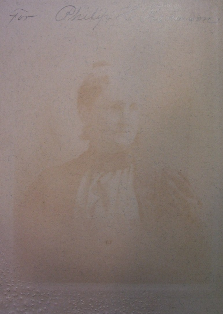 CABINET CARD PHOTO OLDER LADY W/GHOST IMAGE OF SAME LADY ON BACK! c.1890-1910!