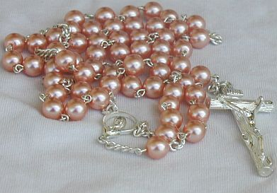 Primary image for Dark pink pearl beads Rosary