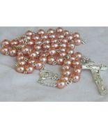 Dark pink pearl beads Rosary - $35.00