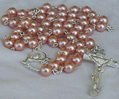 Dark pink pearl beads Rosary