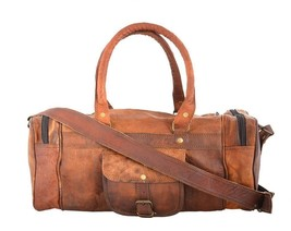 New Men's Duffel Vintage Rustic Soft Leather Gym Weekend Overnight Trave... - $89.76
