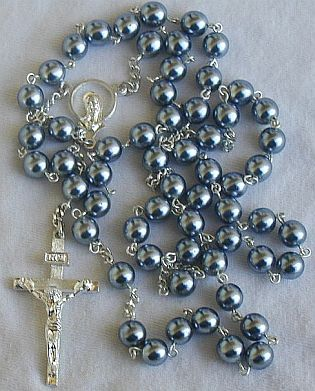 Dark grey pearls rosary