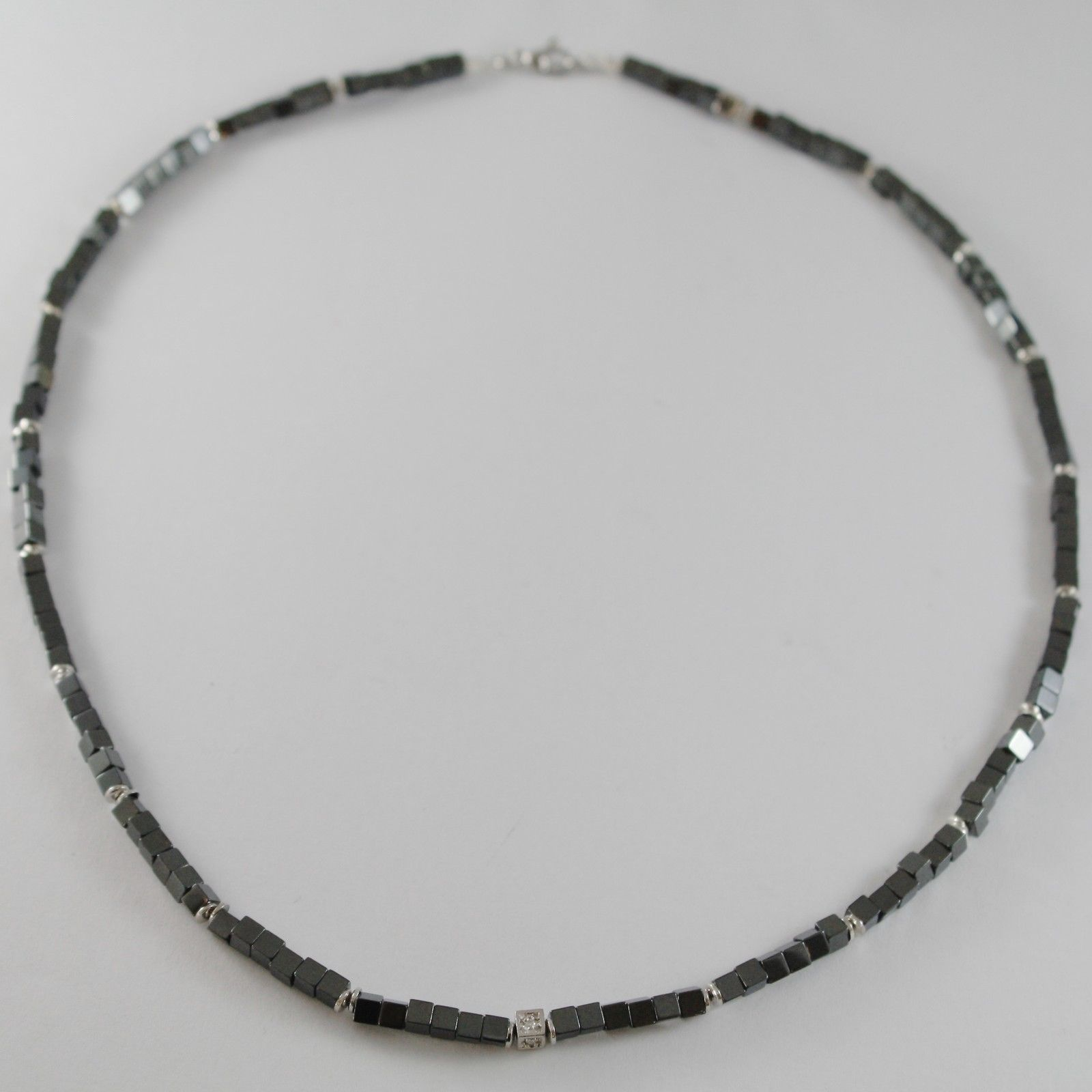 NECKLACE GIADAN 925 SILVER HEMATITE LUCID AND 8 DIAMONDS WHITE MADE IN ITALY