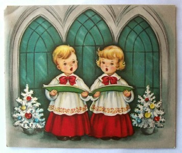 Old Christmas Card: Blonde Haired Boy & Girl Carolers
