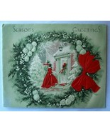 Old Christmas Card: Couple Arriving At Door w Wreath - $2.50