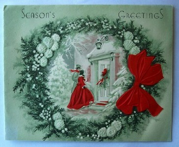 Old Christmas Card: Couple Arriving At Door w Wreath