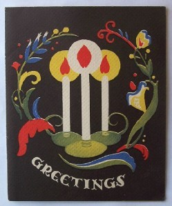 Old Christmas Card: Three Candles with Colorful Decor