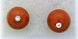 Red Jasper Crystal 8mm Stud Earrings 2 - $8.04