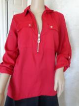 Michael Kors Size Medium Red ¾ Sleeve Blouse (#2932)  Size Medium  - $40.99