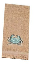 Avanti Portland Fingertip Towel Embroidered Crab Beach Beige Guest Bath ... - $24.63
