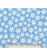 Daisy Fabric, cotton blue floral quilting quilt... - $9.92