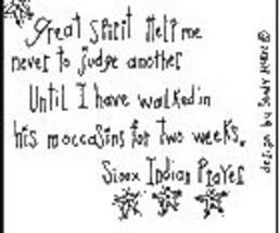 Great Spirit Help Me OOP Primitive Stitchery pattern tea dye - $3.00