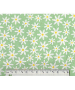 Daisy Fabric, cotton green floral quilting quil... - $9.92
