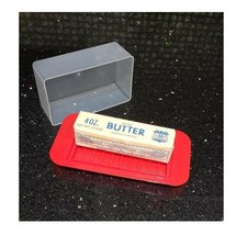 Standard Butter Dish Red Base Smoked Clear Top - $5.93