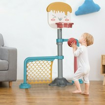 3-in-1 Height Adjustable Basketball Stand Set with Soccer and Roller - n... - $76.99