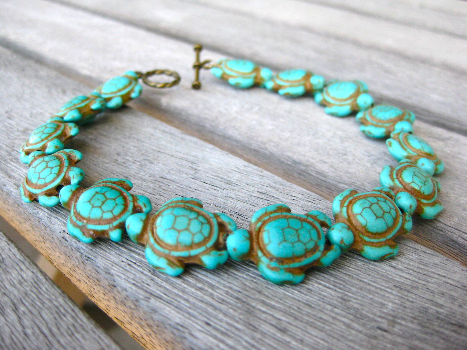 Primary image for 3 HONU 3D SEA TURTLES TORTOISE ANKLETS STONE TURQUOISE BLUE HOWLITE COPPER 9.5 ""