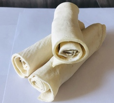 "Homemade All Natural Rawhide Rolls, 4""-5"" each, Pack of 3  - $5.98"