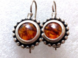 VINTAGE GENUINE BALTIC AMBER STERLING SILVER DANGLE EARRINGS 925 MAD? - $29.69