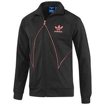 NEW ADIDAS ORIGINALS CUT LINE TT TRACK TOP JACKET L LG BLACK RED ZEST Z5... - $51.41