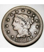 1850 Large Cent Braided Hair F+ AD247 - $25.09