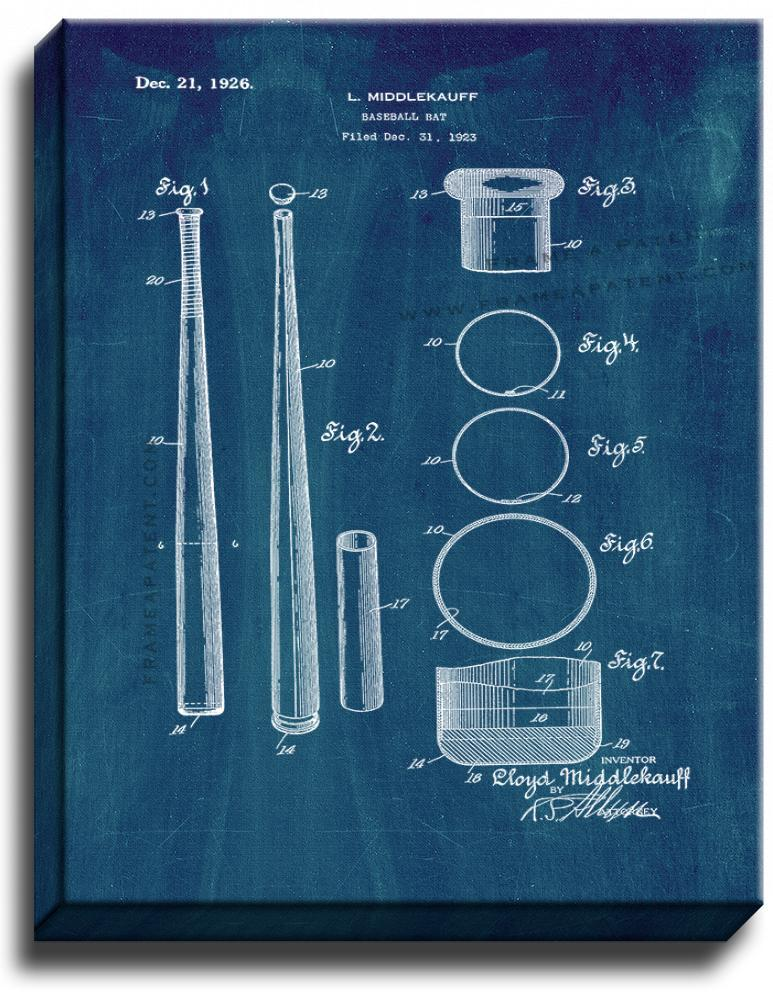 Primary image for Baseball Bat Patent Print Midnight Blue on Canvas