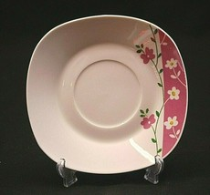 "Classic Style Gibson Everyday China 6"" Square Saucer Plate Pink White Fl... - $8.90"