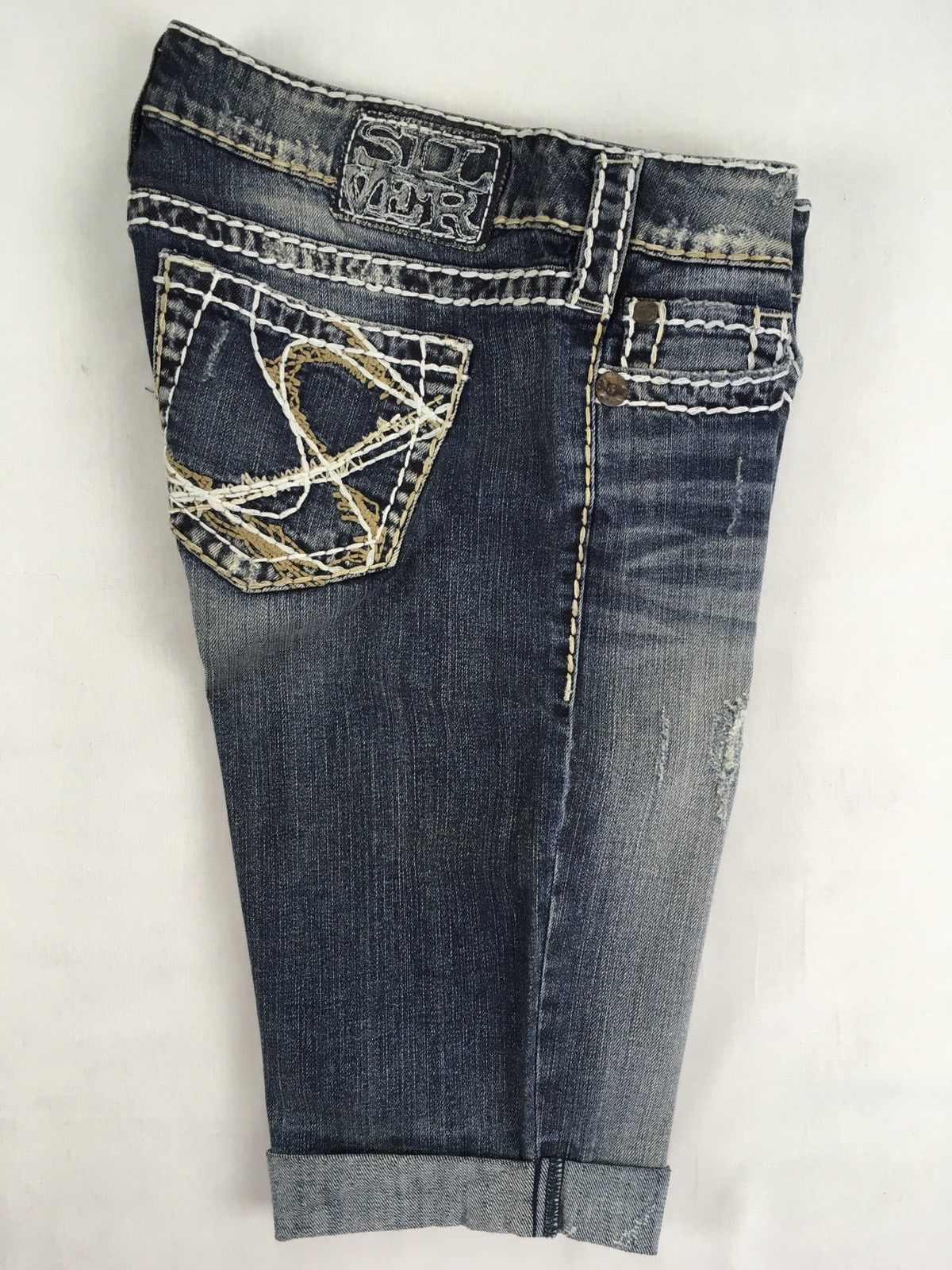 SILVER JEANS SALE Buckle Super Low Thick Stitch Tuesday Denim Jean Shorts 29