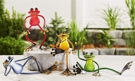 Set of 4 - Metal Frog Design Figurines - Different Poses - Red Blue Green Yellow