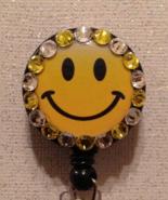 Happy Face Badge Reel Id Holder Swarovski Crystals Alligator Clip Handma... - $10.99