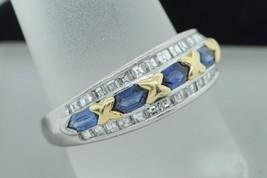 Designer Platinum and 18K Yellow Gold Double Terminated Sapphire Diamond... - $1,185.00