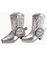 Salt Pepper Shakers  Cowboy BootsVintage 1960's Miniature Souvenir Cowes - $17.92