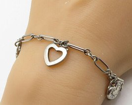 925 Silver - Vintage White Cubic Zirconia Love Heart Charms Chain Bracel... - $67.06