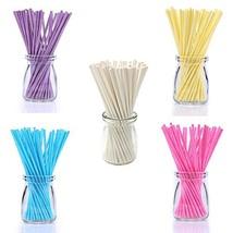 100pcs 6inch Colored Lollipop Sticks for Cake Pops Apple Candy, 5 Clolor... - $11.20
