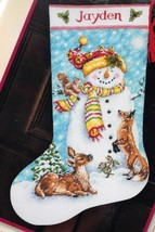 Dimensions Winter Friends Snowman Deer Christmas Cross Stitch Stocking K... - $39.95