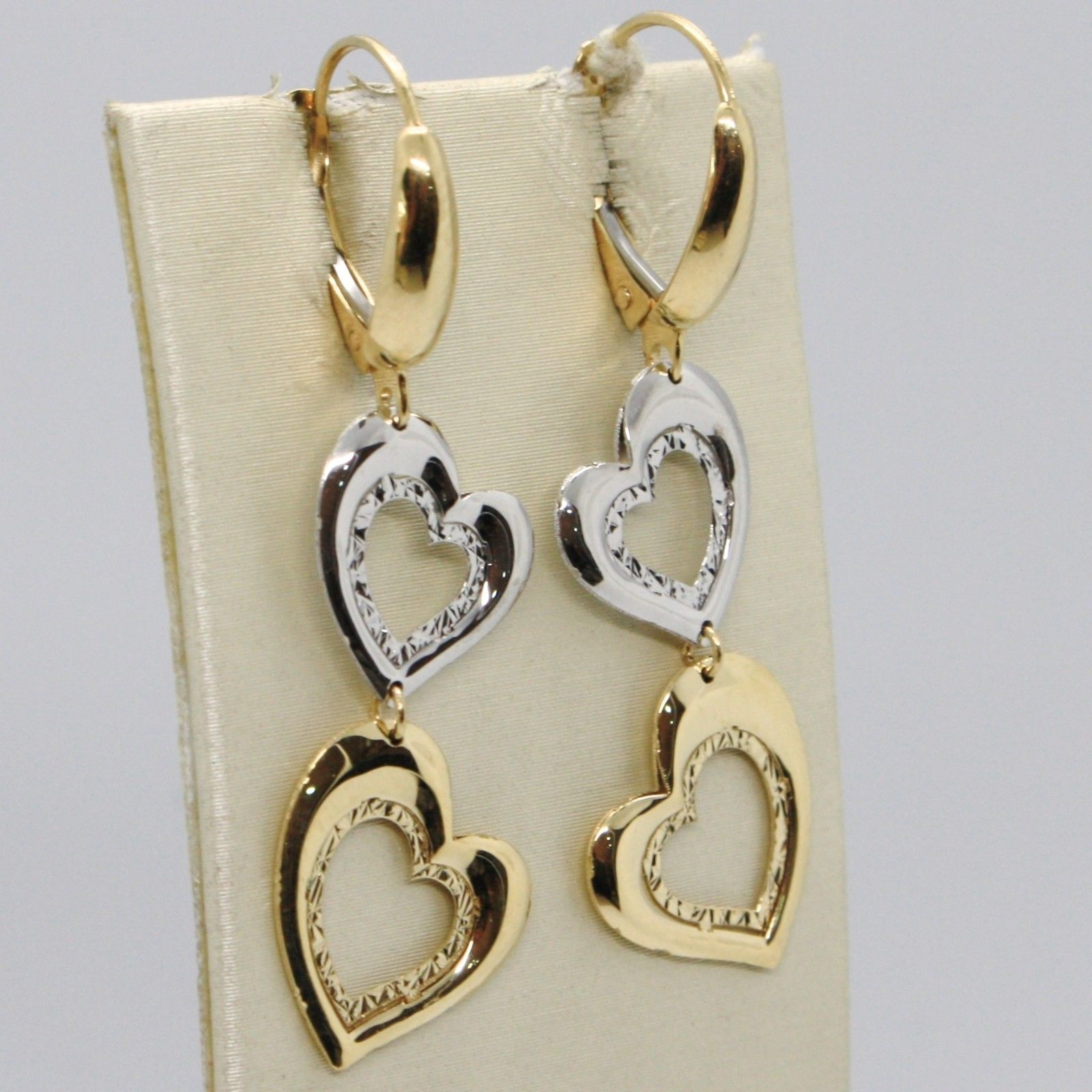 18K YELLOW WHITE GOLD PENDANT EARRINGS, DOUBLE WORKED HEARTS, MADE IN ITALY
